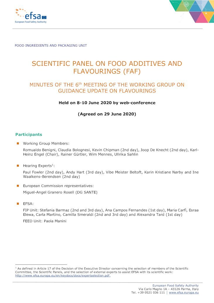 SCIENTIFIC PANEL ON FOOD ADDITIVES AND FLAVOURINGS (FAF ...